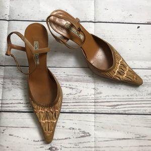 Oscar de la Renta Tan Ankle Strap Point Toe Heels